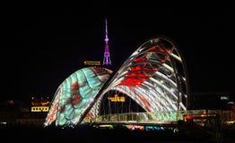 Tbilisi, Georgia 10.09.2016, Bridge of Peace Made from glass, night scene Stock Image