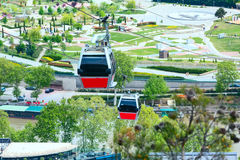 Tbilisi, Georgia cable car cabins and aerial city skyline Royalty Free Stock Image