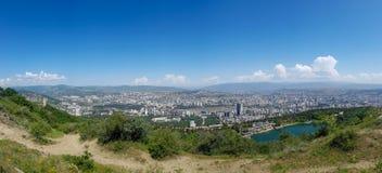 Tbilisi, Georgia: City panorama from the mountain Mtatsminda park stock images