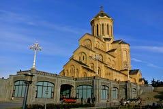 Tbilisi/Georgia - December 29, 2012: Domkyrkan för helig Treenighet som gemensamt är bekant som Sameba royaltyfria foton