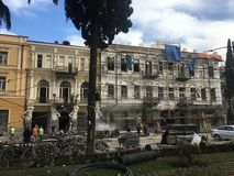 Tbilisi, Georgia, December 11th 2018, Restoration works on one of the old historical buildings