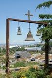 Tbilisi, Georgia, Europe. TBILISI, GEORGIA - JUNE 28, 2014: View from the Metechi Church to the Europe Square on June 28, 2014 in Tbilisi, Georgia, East Europe Stock Image
