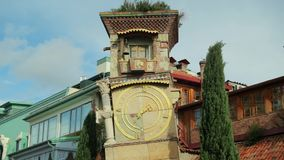 Tbilisi, Georgia. Famous Rezo Gabriadze Marionette Theater Clock Tower On Old City. Puppet Theater Museum In Tbilisi stock video footage