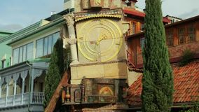 Tbilisi, Georgia. Famous Rezo Gabriadze Marionette Theater Clock Tower On Old City. Puppet Theater Museum In Tbilisi stock video