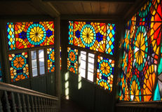 TBILISI, GEORGIA - JANUARY 3, 2016: Interior of an old house with mosaic windows. In the old town of Tbilisi, Georgia Stock Photo