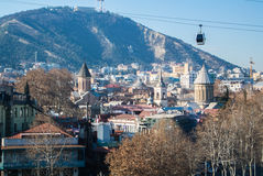 TBILISI, GEORGIA - JANUARY 5, 2017: A view to Tbilisi old town. And a cableway over the city, Georgia Royalty Free Stock Photo