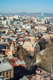 TBILISI, GEORGIA - JANUARY 5, 2017: A view to Tbilisi old town. And a cableway over the city, Georgia Stock Image