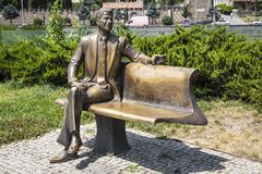 A monument to Ronald Reagan. TBILISI, GEORGIA - JULE 27, 2017: Monument to the 40th US President Ronald Reagan was opened in the Rick Park in the historic part Royalty Free Stock Images