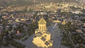 Tbilisi, Georgia - JULY 26, 2017: Aerial view of Holy Trinity Cathedral Tsminda Sameba stock video footage
