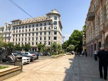 TBILISI, GEORGIA - July 10, 2018: View of the  freedom square in Tbilisi, Goergia royalty free stock photography