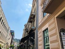 TBILISI, GEORGIA - July 10, 2018: View of the  old town, Tabidze st. in Tbilisi, Goergia stock image