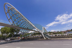 TBILISI, GEORGIA - MAY 07: The Bridge of Peace is a bow-shaped p Royalty Free Stock Photo