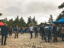 TBILISI, GEORGIA - MAY 12, 2018: Festival of Georgian wine and winemaking in Mtatsminda Park on funicular in Tbilisi, Georgia.  stock photography