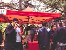 TBILISI, GEORGIA - MAY 12, 2018: Festival of Georgian wine and winemaking in Mtatsminda Park on funicular in Tbilisi, Georgia.  royalty free stock photos