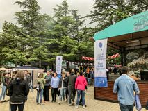 TBILISI, GEORGIA - MAY 12, 2018: Festival of Georgian wine and winemaking in Mtatsminda Park on funicular in Tbilisi, Georgia.  stock image