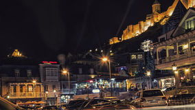 Tbilisi Georgia at Night. Tbilisi Georgia Gruzia Night, Nariqala fortress royalty free stock images