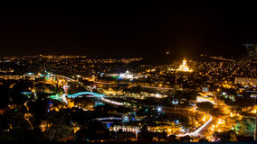 Tbilisi Georgia at Night. Tbilisi Georgia Gruzia Night, view from the hill stock image