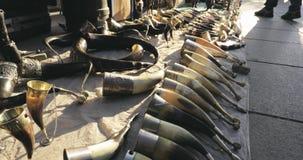 Tbilisi, Georgia - November 11, 2018: Drinking Horns In Flea Market Of Old Retro Vintage Things On Dry Bridge