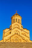 Tbilisi, Georgia - 8 October 2016: Main view Tbilisi Sameba Cathedral Holy Trinity biggest Orthodox Cathedral in Stock Photography