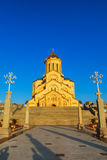 Tbilisi, Georgia - 8 October 2016: Main view Tbilisi Sameba Cathedral Holy Trinity biggest Orthodox Cathedral in Royalty Free Stock Photography