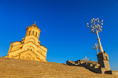 Tbilisi, Georgia - 8 October 2016: Main view Tbilisi Sameba Cathedral Holy Trinity biggest Orthodox Cathedral in Royalty Free Stock Images