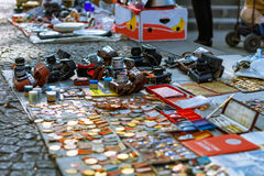 Tbilisi, Georgia - 08 October, 2016: Stall of Soviet badges and icons, vintage retro photo cameras sold in Dry Bridge Stock Photography