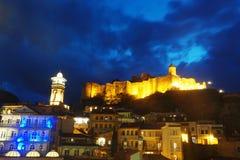 Tbilisi Georgia Old Town e fortaleza de Narikala imagem de stock