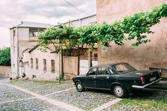 Tbilisi Georgia. Rear View Of Parked Black Volga GAZ, Retro Rarity Royalty Free Stock Photos