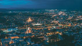 Tbilisi Georgia. Scenic Panoramic Top Field Of Vision. Cityscape In Evening Illumination, Landmarks. Tbilisi, Georgia. The Scenic Panoramic Top Field Of Vision royalty free stock image