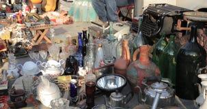 Tbilisi, Georgia. Shop Flea market of antiques old retro vintage things on dry bridge. Swap meet in tbilisi