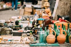 Tbilisi, Georgia. Shop Flea Market Of Antiques Old Retro Vintage. Things On Dry Bridge In Tbilisi royalty free stock image