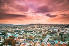 Tbilisi, Georgia. Skyline Cityscape Of Autumn Old Town. Central Part Of City With Famous Landmarks. royalty free stock photo