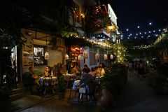 Summer cafe in the center of Tbilisi stock photos