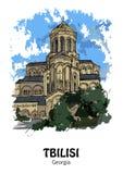 TBILISI, GEORGIA - Tsminda Sameba, cattedrale ortodossa georgiana Immagine Stock Libera da Diritti