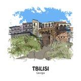 TBILISI, GEORGIA - vecchie case con il balcone Fotografie Stock Libere da Diritti