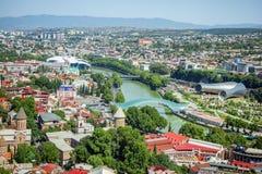 Tbilisi, Georgia Vista dalla strada del cavo Fotografie Stock