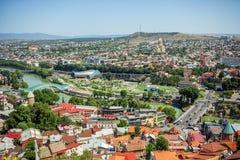 Tbilisi, Georgia Vista dalla strada del cavo Fotografia Stock Libera da Diritti