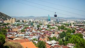 Tbilisi, Georgia Vista dalla strada del cavo Fotografia Stock