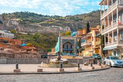 13 04 2018 Tbilisi, Gruzja - architektura Stary miasteczko Tb Obrazy Stock