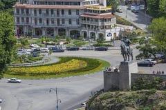 TBILISI GRUZJA, MAJ, - 07, 2016: Tbilisi centrum miasta widok z lotu ptaka Fotografia Stock