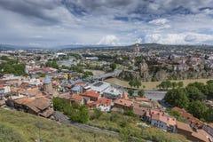 TBILISI GRUZJA, MAJ, - 07, 2016: Tbilisi centrum miasta widok z lotu ptaka Obrazy Royalty Free