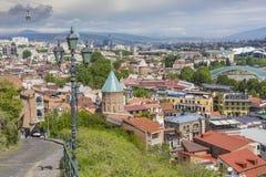 TBILISI GRUZJA, MAJ, - 07, 2016: Tbilisi centrum miasta widok z lotu ptaka Fotografia Royalty Free