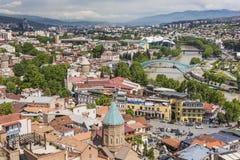 TBILISI GRUZJA, MAJ, - 07, 2016: Tbilisi centrum miasta widok z lotu ptaka Obraz Royalty Free