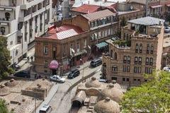 TBILISI GRUZJA, MAJ, - 07, 2016: Tbilisi centrum miasta widok z lotu ptaka Zdjęcie Royalty Free