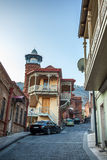 Tbilisi. The hilly street leads to the Jumah Mosque in Abanotuba Stock Images