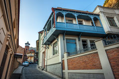 Tbilisi. The hilly street leads to the Jumah Mosque in Abanotuba Stock Image