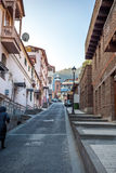 Tbilisi. The hilly street leads to the Jumah Mosque in Abanotuba Royalty Free Stock Photos