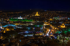 Tbilisi and Holy Trinity Cathedral at night Royalty Free Stock Images