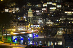 Tbilisi i natt Royaltyfri Bild