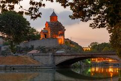 tbilisi Igreja de Metekhi Imagens de Stock Royalty Free